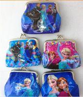 Wholesale New fashion girls Frozen Coin Purse with iron button Anna Elsa Olaf money bag Snow Queen wallet children child Gifts