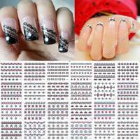 Wholesale Super Sheet Nail Art Sticker Black Flowers Lace Decal Manicure Tip French Style Mix Flower
