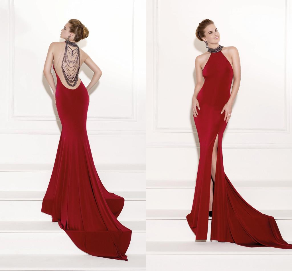 Sexy Red Long High Neck Prom Dresses Mermaid Jewelry Halter ...