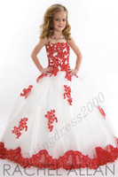 Wholesale Lace Toddler Spaghetti White And Red Organza Beaded with Handmade Pageant Dresses for Girls