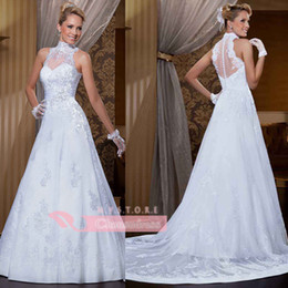 Wholesale 2014 Sheer Vestido A Line Wedding Dresses High Neck Applique Lace Beaded Glitz Tulle Chapel Train Covered Button Back Sash Bridal Gowns LT65