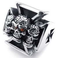 african crafts - Crafted Casting in Stainless Steel Cross Red Eyes Zircon Skull Ring