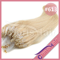 Wholesale High Quality quot quot Micro Loop Remy Remi Human Hair Extensions Indian Micro Ring Link Lightest Bleach Blonde Straight Set s g s