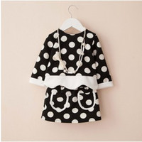 Cheap 2014 Korean Style Girls Long Sleeve Dot Fashion Outfit Round Neck T-shirt And Two Pockets Skirt