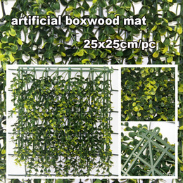 Wholesale fire resistant boxwood privacy fence x25cm grass mat fake leaf long lasting for garden party G0602B017A