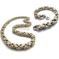 Wholesale Teboer Jewelry Mens Stainless Steel Byzantine Box Chain Necklace Bracelet Set mm Heavy SSJ97