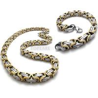 Teboer Bijoux Bijoux en acier inoxydable Byzantine Box Chain Bracelet Set 9mm Heavy SSJ97