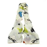 Wholesale Artesanato Fashion National Heart and Smile Face Printed Long Chiffon Girl Summer Scarf For Bijoux Women