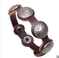 Wholesale Cheap and fine punk style Peace Dove Pure handmade leather bracelet rivet Personalized fashion Charm bracelet color can choose