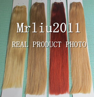 Wholesale 100g A Double Drawn Very Thick Bottom Wefted Indian Remy Human Hair Extensions Blonde Brown Purple Ombre Straight Wavy Hair Wefts