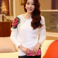 Wholesale Winter Crocheted Rose White Black Sweaters For Women V Neck Long Sleeve Fashion Mohair Sweaters Pullover Knitwear Outwear ZND0806