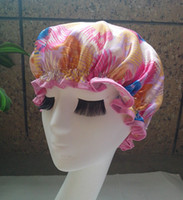Wholesale New colorful pink print High quality double layer satin with EVA inner shower caps falbala Lace bathing Cap Nursing cap for SPA