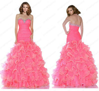 Two Tones Colorful Pink Mermaid Prom Pageant Evening Dance D...