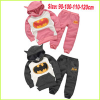 Wholesale 2014 New Autumn Boys And Girls Batman Suits Baby Cartoon Hoodies Sets Children Suits Hoodies Pants Kids Clothing Inside Plush HZ ZJ01