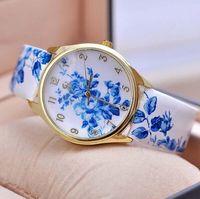 Wholesale Luxury Watches Unisex Elegant Blue and White Porcelain Watch Fancy Oriental Ceramics Watch Bright PU Leather Flower Watch