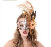 Wholesale women sexy Halloween mask of Venice camouflage mask with princess Venice feathers half face coloured drawing or pattern Flo