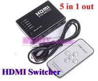 Wholesale 5 Port P Video to HDMI Switch Switcher Splitter IN OUT for HDTV PS3 DVD with IR Remote