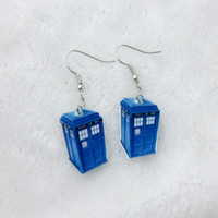 Wholesale New Jewelry Western Fashion Dr Who Tardis Earrings Blue Earrings pair Jewelry gift for Women