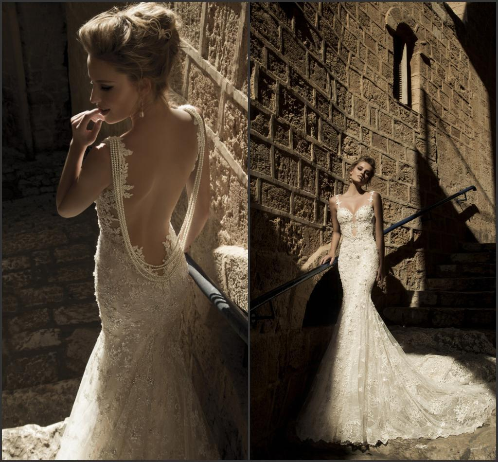 Sheer Back Wedding Dress With Pearls images