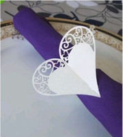Cheap Heart Design Napkin Wrappers Laser Cut Paper Napkin Rings Holders for Weddings Party Table Decorations 100 Pieces 16 Colors