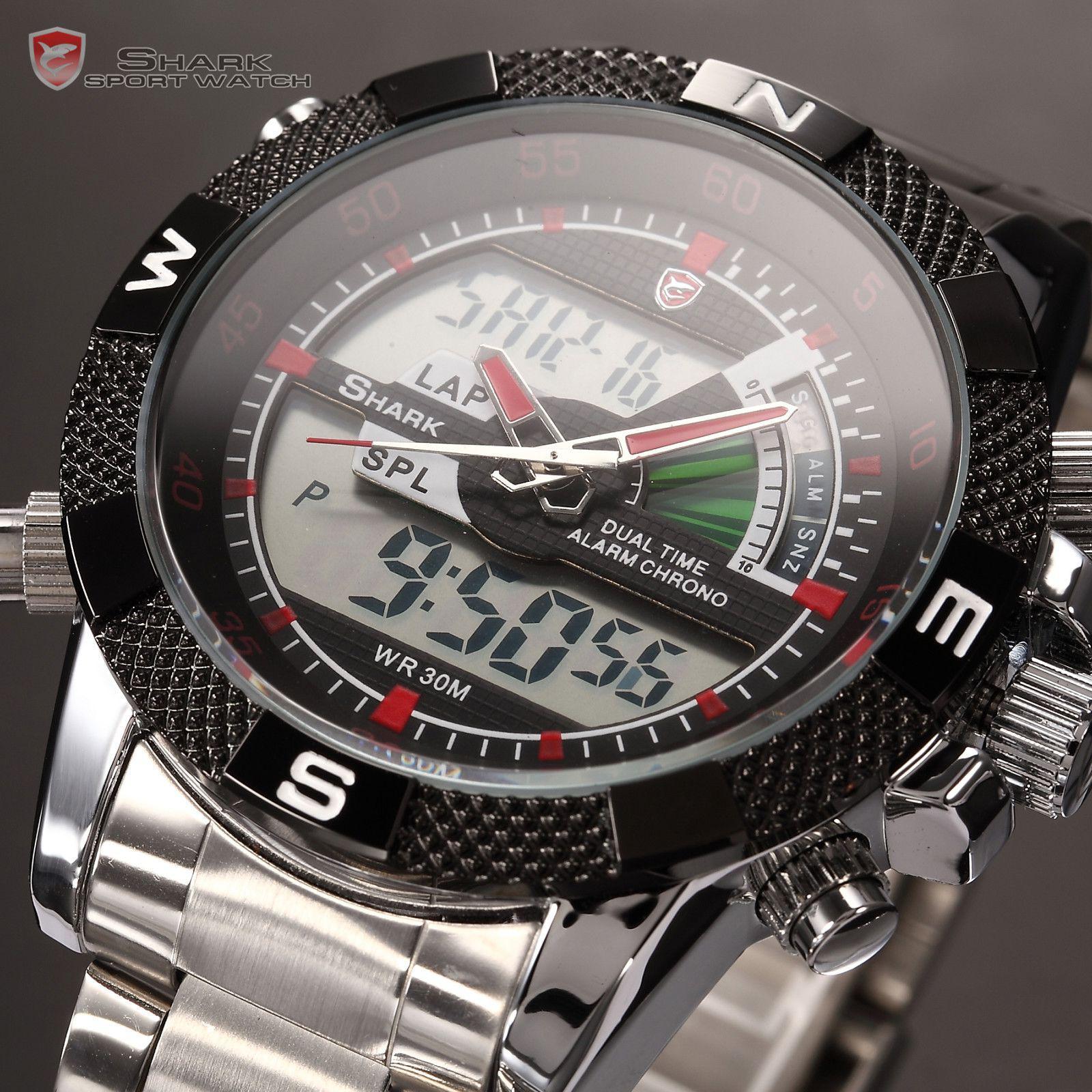 mens digital watch analog lcd chronograph stainless sport shark mens digital watch analog lcd chronograph stainless sport shark wrist watch box retail sh049