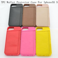 Cheap wallet Case TPU+PU Leather Cover Case with Credit Card For Iphone5S Iphone 5 Protector Case 6 colors