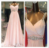 nylon chiffon - Dramatic Crystal Beaded Pale Pink Chiffon Evening Dress Nylon Straps A Line Floor Length Chiffon Real Image Prom Gown Party Dress WH850