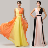 GK Newly 2014 Colorful Chiffon Evening Dresses Sexy V- neck S...