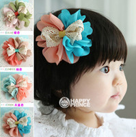 Cheap New Children's Hair Accessories Girls Hair Clips Chiffon Lace Flower Bowknot Baby Girl Lovely Barrettes Hair Clip Accessory 30pcs lot A573