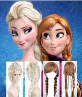Wholesale Hot Classic Halloween New Cartoon Movie Frozen Snow Queen Anna Elsa Wig Long Braid Ponytail Cosplay Anime Wig