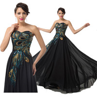 Model Pictures Strapless Chiffon Fashion Peacock Black Evening Dresses Long Chiffon Maxi Party Prom Gowns CL6168