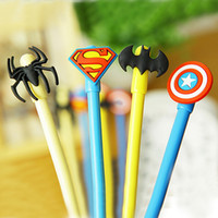 Wholesale the game super hero Batman SpiderMan Superman Captain America pen student Rollerball Pens stationery Office Supplies children gift