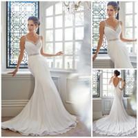 Wholesale New Arrival Elegant Mermaid Chiffon Beach Wedding Dresses Princess Backless Fashion Beaded Crystal Long Formal Bridal Gowns W1266 Hot
