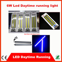 Wholesale Waterproof cob cm led W V Black Frame LED Car Daytime Running Light drl cob Strip auto day time running lights