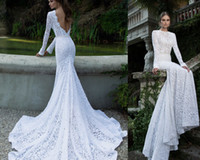 Wholesale 2016 Berta Full Lace Backless Wedding Dresses With Long Sleeves Crew Neck Court Train Bridal Gowns Mermaid Wedding Gowns Cheap