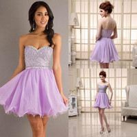 Cheap Sexy Sweetheart Lavender Lilac Chiffon Homecoming Graduation Dresses Sequined Beaded Short Prom Cocktail Party Gowns Cheap 2014 Under $100