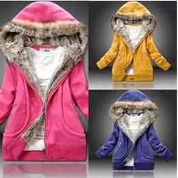 2016 New hiver chaud Hoodies Mode femme Polaires Coat Plus Size Ladies Filles capuche col en fourrure Manteau Épaissir capuche Sweats Vêtements W16 à partir de hoodie de la fourrure pour les femmes fabricateur