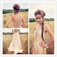 Wholesale Newest Designer Halter Champagne A Line Prom Dresses Sexy Chiffon Applique Beaded Rhinestones See Through Back Party Gowns Custom Made
