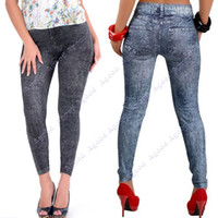 women leggings - 2014 New Fashion Women s Sexy Close fitting Imitated Denim Jean Leggings SV004648