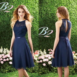 2017 Short Navy Blue Bridesmaid Dress by Jasmine Halter High Neck Lace Knee Length Prom Party Dress Cocktail Dress