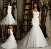Wholesale sg Factory Direct Sell Sexy Mermaid Sweetheart Lace Up White Ivory Tulle Bridal Gown Wedding Dress Custom Made Best Price