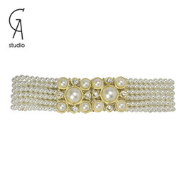 Wholesale Hot Sale Women Fashion Belts Elegant Big White Pearl Crystal Flower With Alloy Clasp Active Belts For accessories