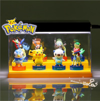 Wholesale Snivy Oshawott Piplup Pikachu Pokemon Action Figures Set cm High Quality PVC PP Bag Poke Game Figures Children Cartoon Toys Kids Gifts