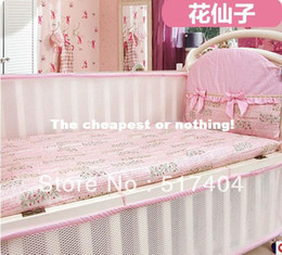 2013 NEW pattern ventilate summer cool baby pink crib bumper,cool baby bumper , 4pc bumper with the filler ,EMS Free Shipping