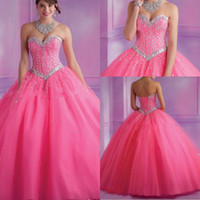 Wholesale 2014 Quinceanera Dresses Sweetheart Ball Gown Tulle Fushia Crystal Beading Glitz Floor Length Lace Up Back Formal Party Prom Gowns BO6572