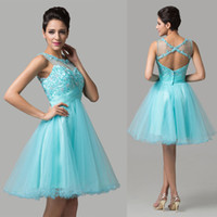 New Popular Design Short Sheer Prom Dresses Crew Neck Appliq...