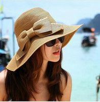 Cheap Hot Cheap Summer 2014 Sun Hat For Women Straw Cap Beach Wide Floppy Fashion Vintage Lady's Foldable Large Brimed Bow SCX-A177