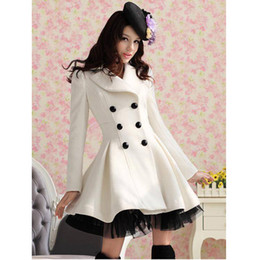 Wholesale 2016 New Long Woolen Coat Dress Fashion Women Winter Ruffled Coat Christmas Parka Plus Size Ladies Lace Peacoat Trench Coat Outerwear W26
