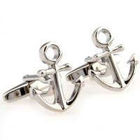 anchor cuff links - TZG01585 Unique boat anchor style Cuff Links Enamel Stainless Steel Fashion Business Weddings Cufflinks top grade gift