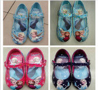 Wholesale 2014 hot sell frozen elsa and anna shoes blue girls flats kids children princess shoes